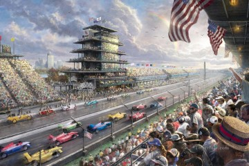 horce races racing Painting - Indy Excitement 100 Years of Racing at Indianapolis Motor Speedway Thomas Kinkade impressionist