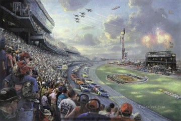 NASCAR THUNDER Thomas Kinkade impressionist Oil Paintings