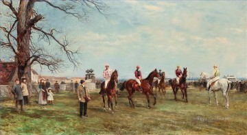 Sport Painting - The start of the Catterick Steeplechase Heywood Hardy horse riding sport