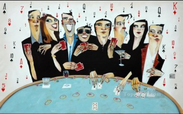 dogs playing poker Painting - casino pokers gambling