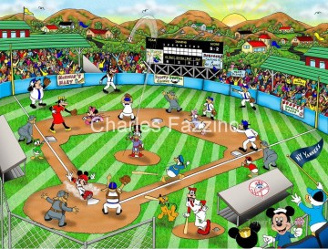 fazzino baseball art disney impressionist Oil Paintings