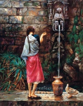 Women Painting - girl by fountain