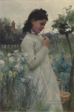 A Young Girl in a Garden Alfred Glendening JR beautiful woman lady Oil Paintings