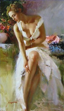 Women Painting - Angelica lady painter Pino Daeni beautiful woman lady