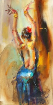 Women Painting - Blue Flamenco AR Impressionist