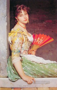 Daydreaming lady Eugene de Blaas beautiful woman Oil Paintings