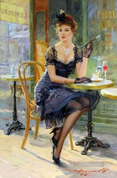 Detente au cafe Impressionist Oil Paintings