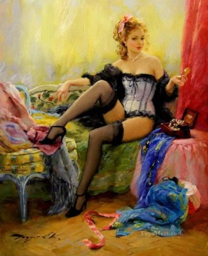 In the boudoir Impressionist Oil Paintings