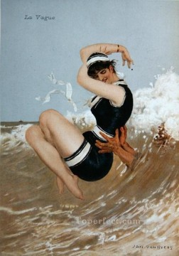 Women Painting - La Vague Jan van Beers woman
