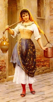 Women Painting - Le Travail Eugene de Blaas beautiful woman lady