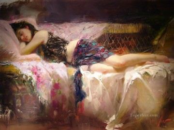 Women Painting - Pino Daeni At Rest II beautiful woman lady