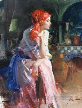 Pino Daeni Lost in Thought beautiful woman lady Oil Paintings