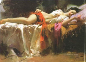 Pino Daeni sleeping girl beautiful woman lady Oil Paintings