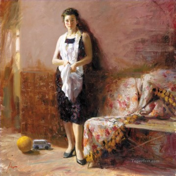 Pino Daeni standing beautiful woman lady Oil Paintings