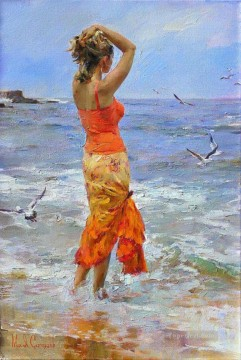 Women Painting - Pretty Girl seagull MIG 12 Impressionist