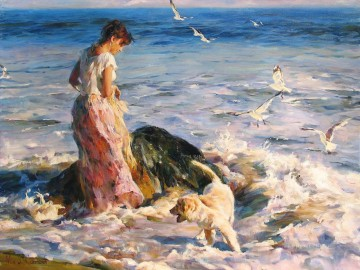Pretty Girl seagulls dog MIG 32 Impressionist Oil Paintings