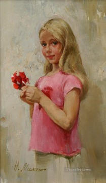 Pretty Little Girl NM Tajikistan 02 Impressionist Oil Paintings