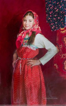 Women Painting - Pretty Little Girl NM Tajikistan 17 Impressionist