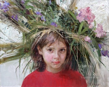 Pretty Little Girl NM Tajikistan 25 Impressionist Oil Paintings