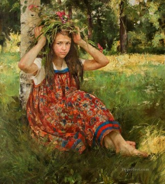 Women Painting - Pretty Little Girl NM Tajikistan 27 Impressionist