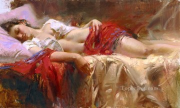 Women Painting - Restful Pino Daeni beautiful woman lady