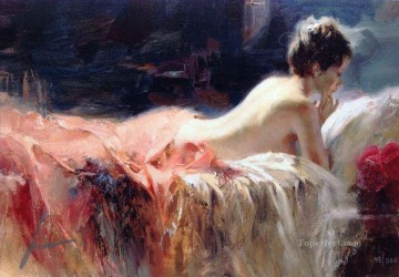 Soft Light Pino Daeni beautiful woman lady Oil Paintings