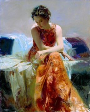 Women Painting - Solace lady painter Pino Daeni detail beautiful woman lady