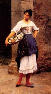 Women Painting - Venetian flower seller lady Eugene de Blaas beautiful woman lady