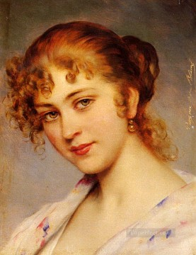 Women Painting - Von A Portrait Of A Young Lady lady Eugene de Blaas beautiful woman lady