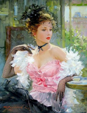 Young lady on the cafe terrace Impressionist Oil Paintings