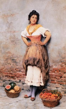 Women Painting - fruits seller Eugene de Blaas beautiful woman lady