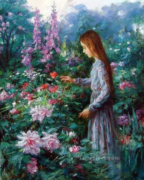 Women Painting - girl picking flowers