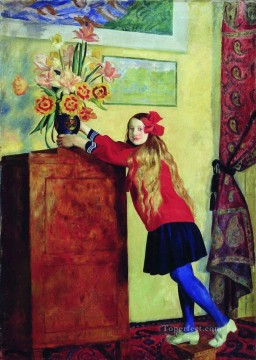 girl with flowers 1917 Boris Mikhailovich Kustodiev beautiful woman lady Oil Paintings