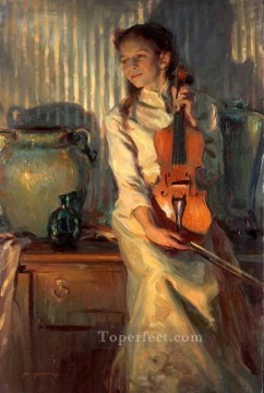 her mothers violin DFG Impressionist Oil Paintings