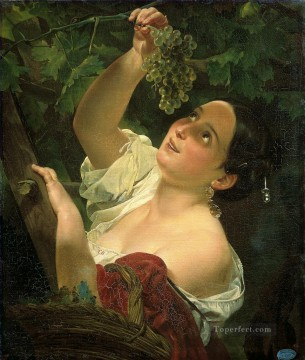 italian midday Karl Bryullov beautiful woman lady Oil Paintings
