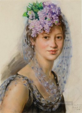 Women Painting - portrait of berthe popoff in a floral fascinator 1941 beautiful woman lady