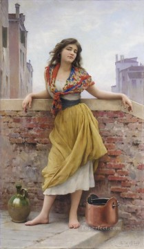 von Die Wassertragerin lady Eugene de Blaas beautiful woman lady Oil Paintings