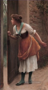 von The Eavesdropper lady Eugene de Blaas beautiful woman lady Oil Paintings