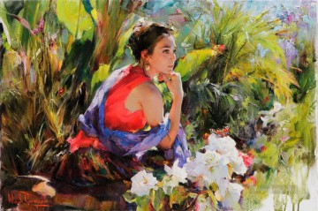 Women Painting - watching a butterfly MIG Impressionist
