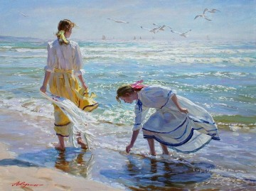 Beautiful Girl seagulls VG 29 Impressionist Oil Paintings