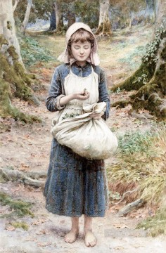 Country Girl by Henry James Johnstone British 05 Impressionist Oil Paintings