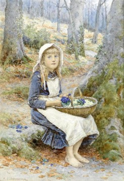 Country Girl by Henry James Johnstone British 06 Impressionist Oil Paintings