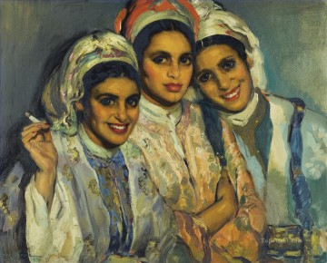 Women Painting - LES TROIS AMIES Jose Cruz Herrera genre woman