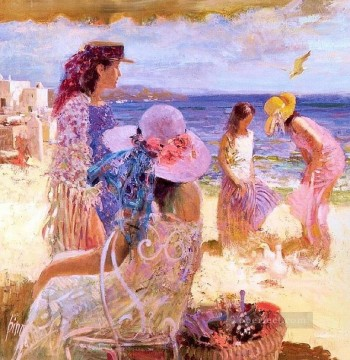 Ladies on Beach Pino Daeni beautiful woman lady Oil Paintings