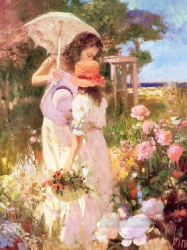 Women Painting - Pick Flowers Pino Daeni beautiful woman lady