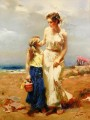 Pino Daeni mother and daughter beautiful woman lady