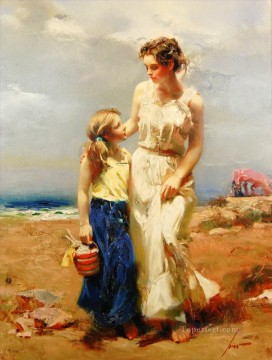 Pino Daeni mother and daughter beautiful woman lady Oil Paintings
