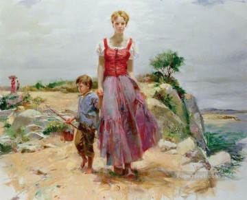Pino Daeni mother and son beautiful woman lady Oil Paintings