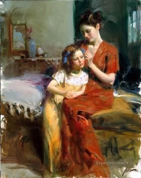 Pino Daeni mum and girl beautiful woman lady Oil Paintings