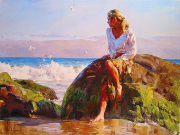 Women Painting - Pretty Girl seagull MIG 45 Impressionist